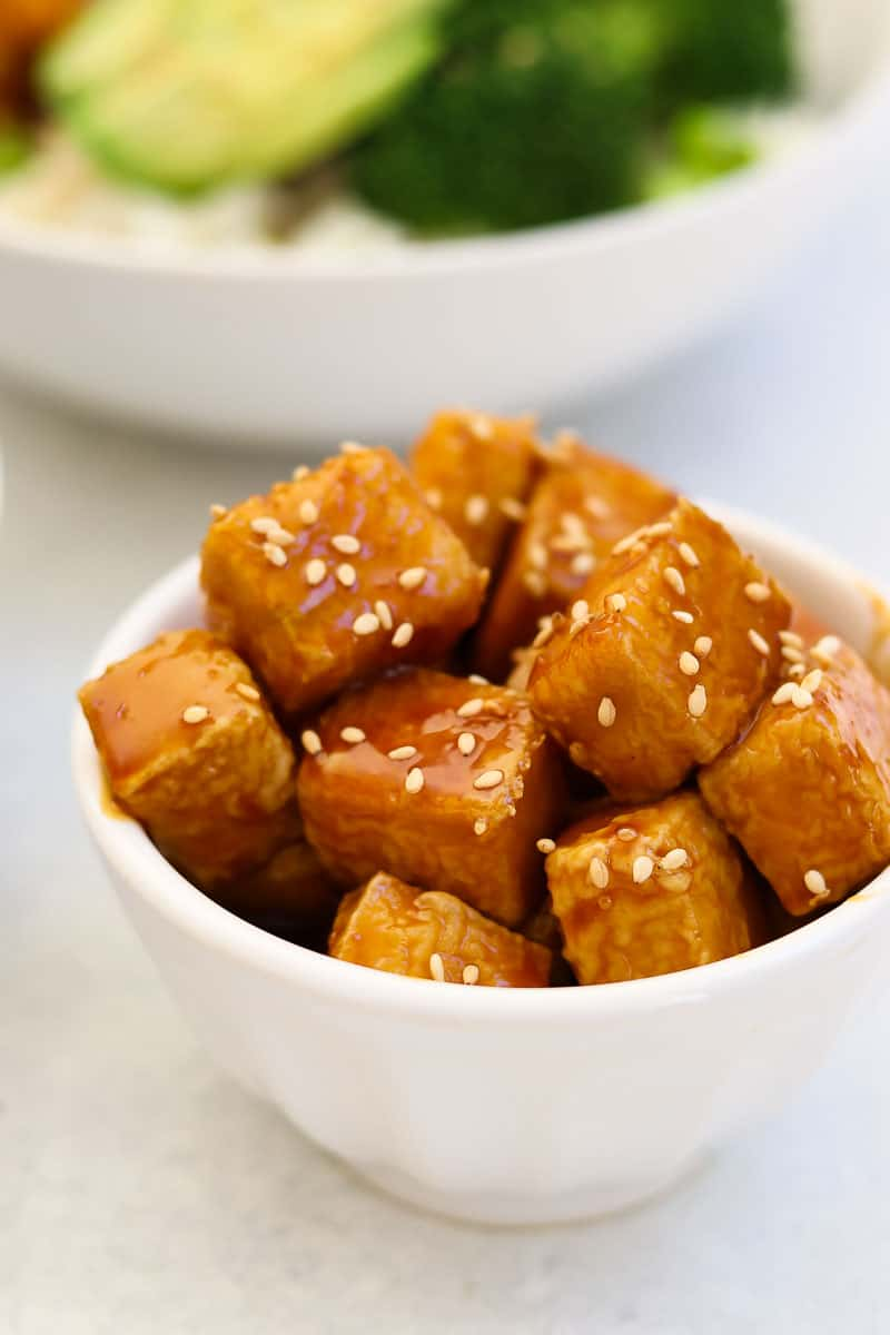 Small white bowl filled with the teriyaki tofu recipe.