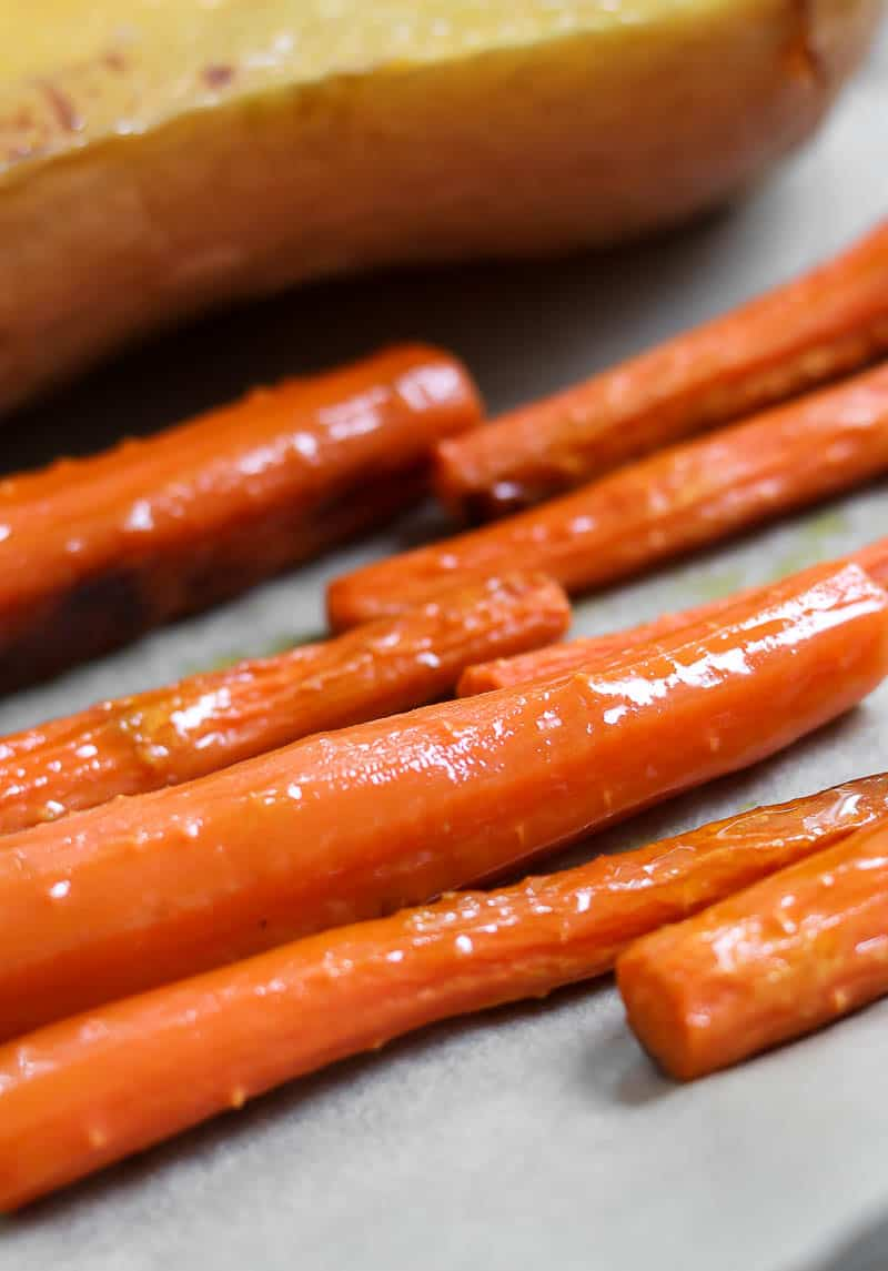 Roasted carrots with olive oil.