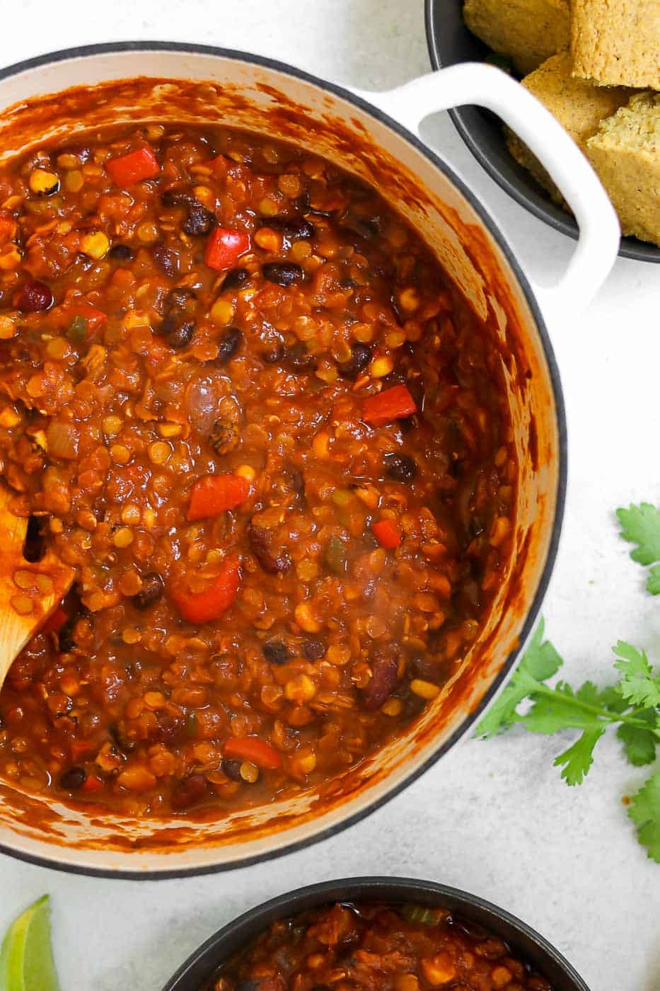 Large pot filled with lentil chili.