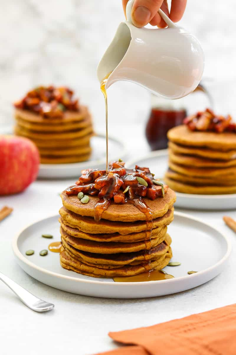 Sweet potato gluten free pancakes with maple apples on top.