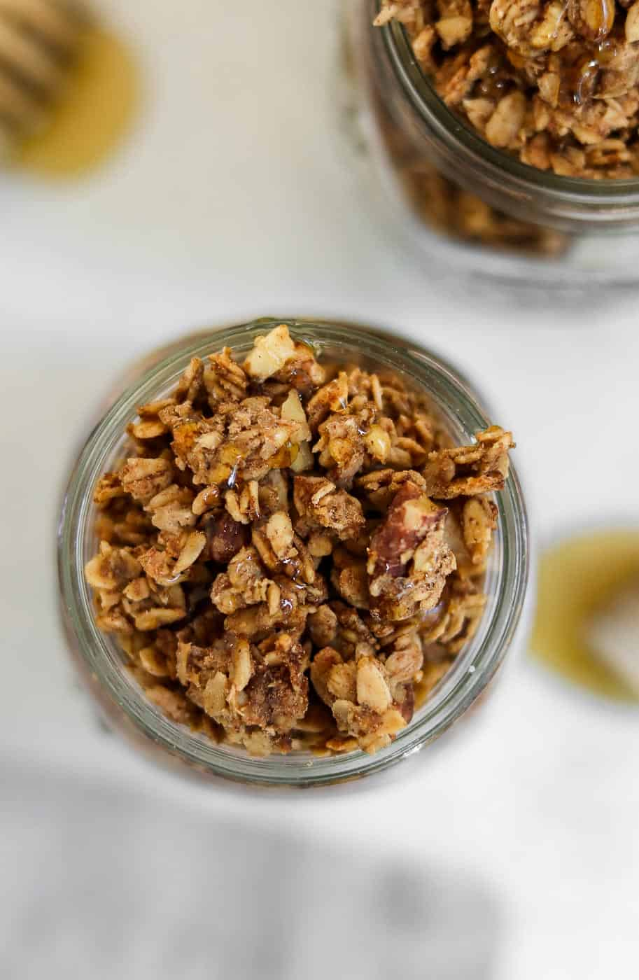 Two jars with banana granola.