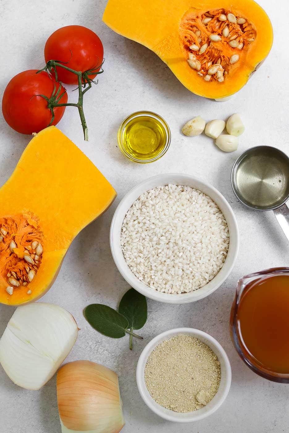 Ingredients for the vegan butternut squash risotto recipe.