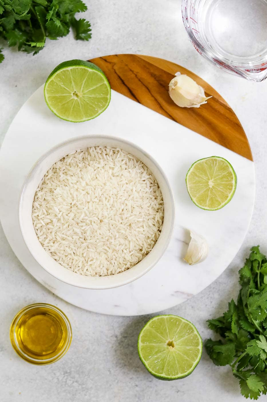 Ingredients for the cilantro lime rice recipe.