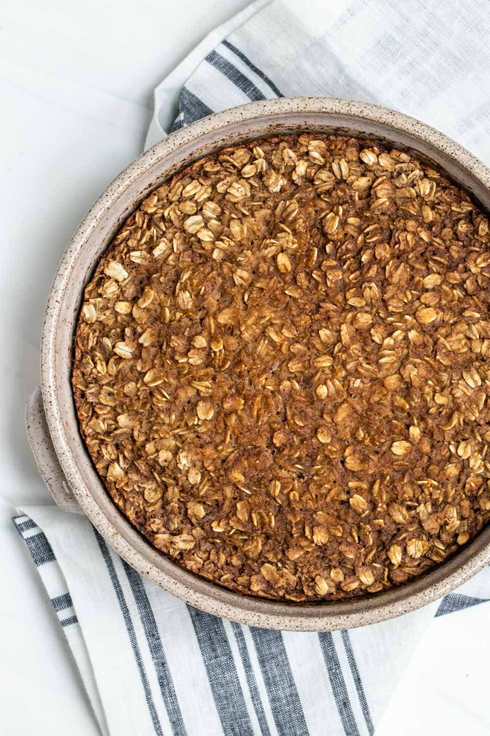 Baked oatmeal fresh from the oven.