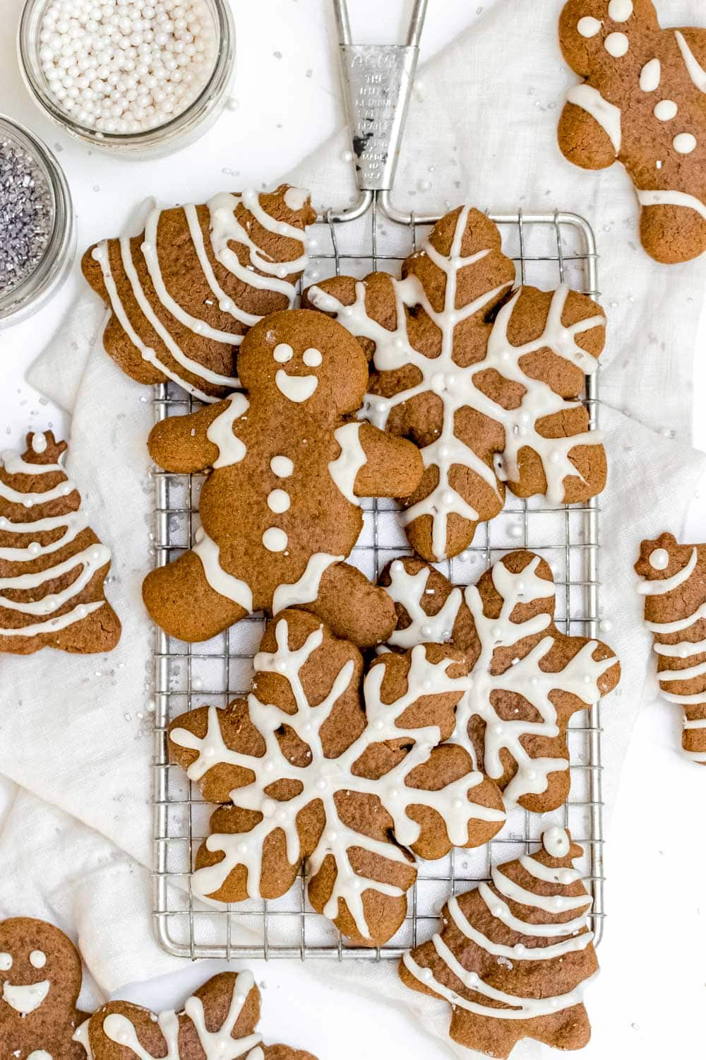 Healthy gingerbread cookies men and snowflakes with icing.