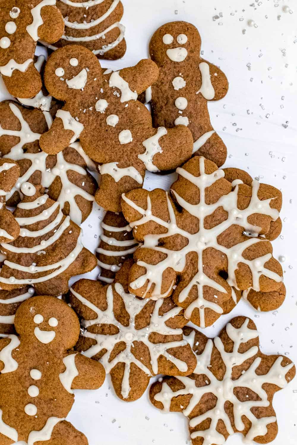 Vegan gingerbread cookies with royal icing.