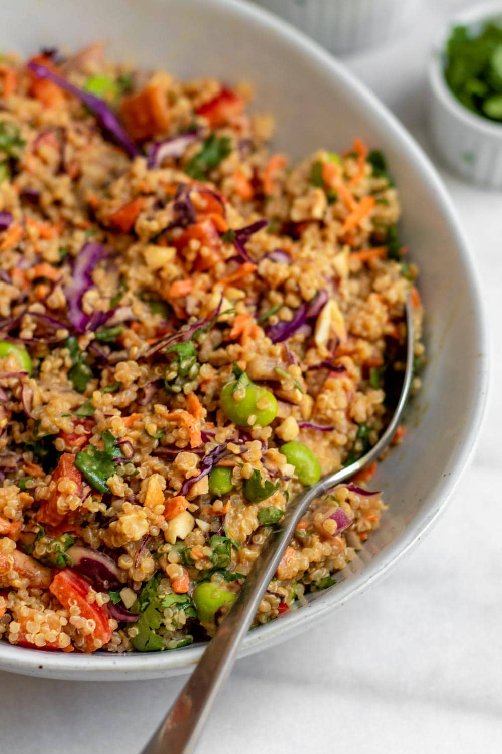Up close of quinoa salad with veggies and thai peanut sauce.