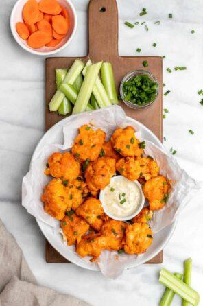 Vegan Baked Buffalo Cauliflower Wings