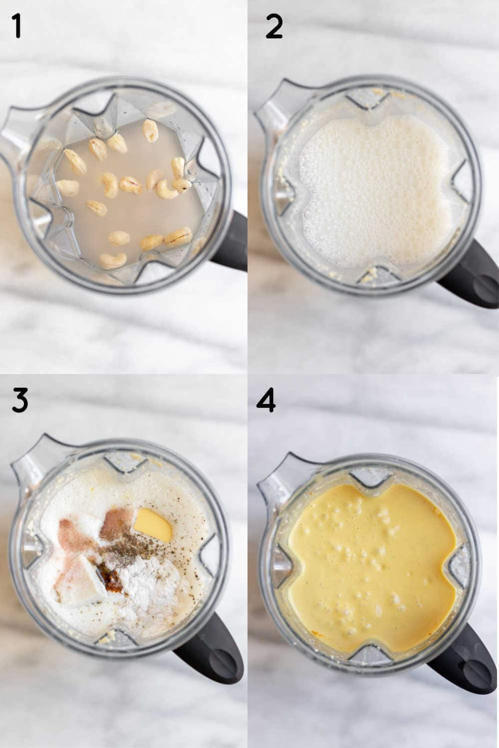 Four images with the blender showing how to make the sauce.