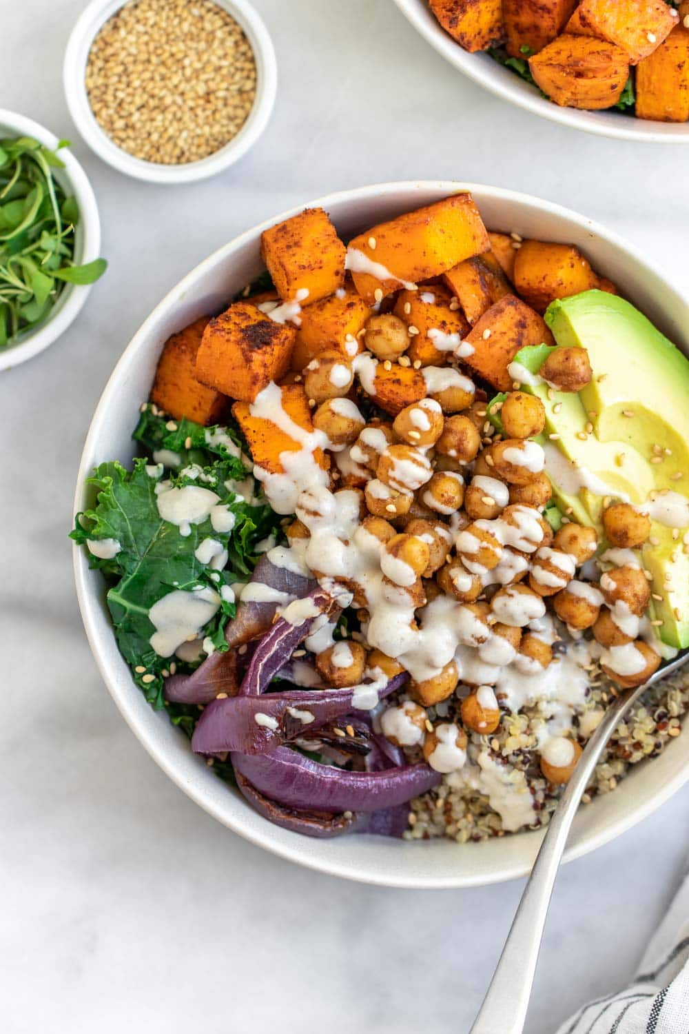 Chickpea buddha bowl with tahini dressing.