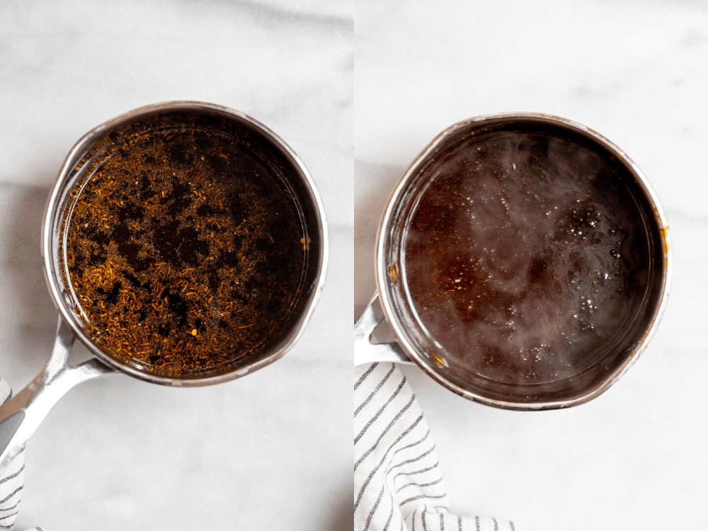 Two side by side images showing how to make the recipe.