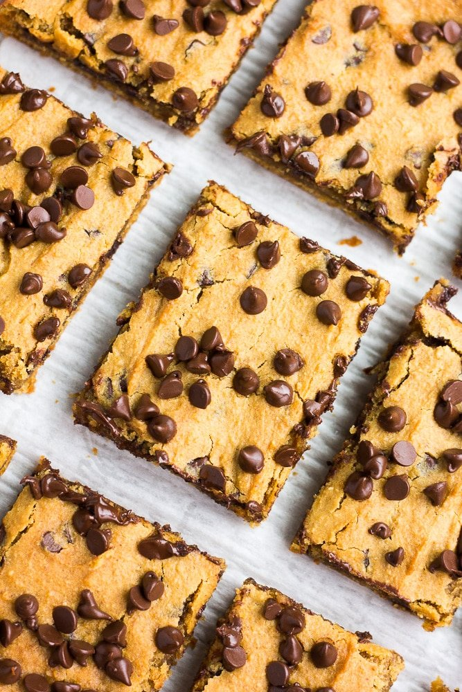 Chickpea blondies with chocolate chips on top.