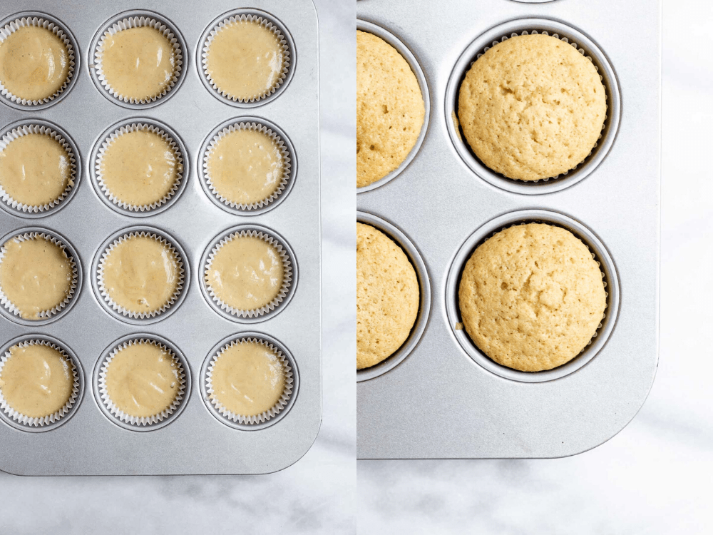 Two images showing before and after of going in the oven.
