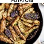 potatoes in a skillet with herbs