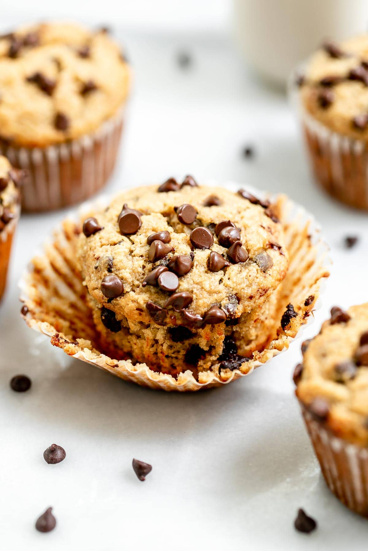 Easy almond flour recipe with banana and chocolate chips.