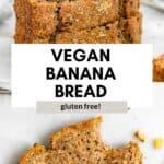 vegan banana bread with a bite taken out