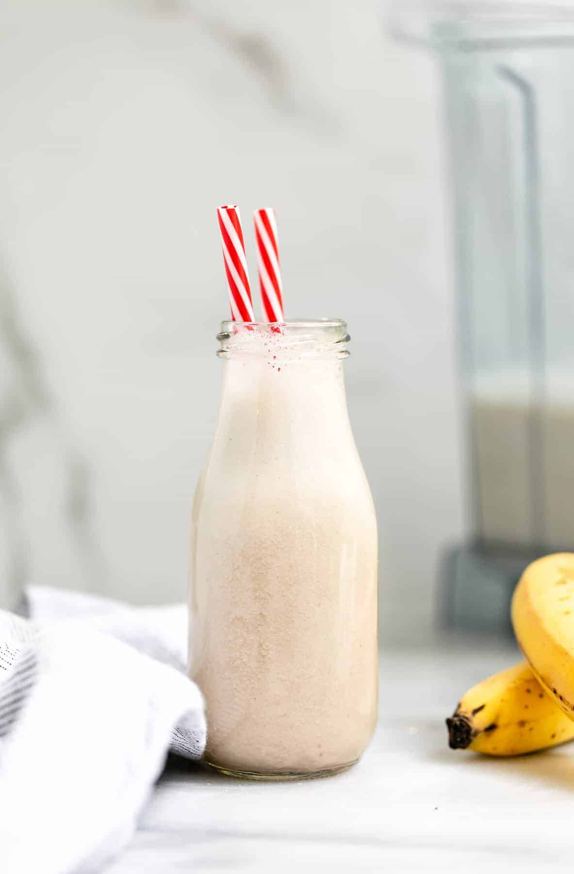 One glass jar with the Korean banana milk.