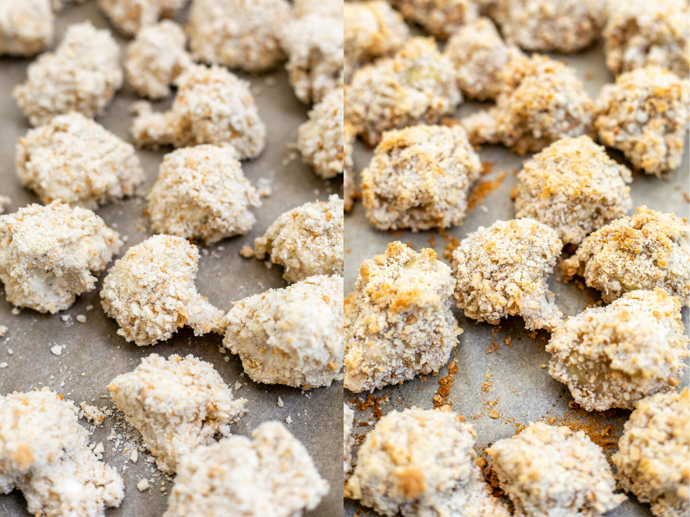 Two images showing the cauliflower before and after baking.
