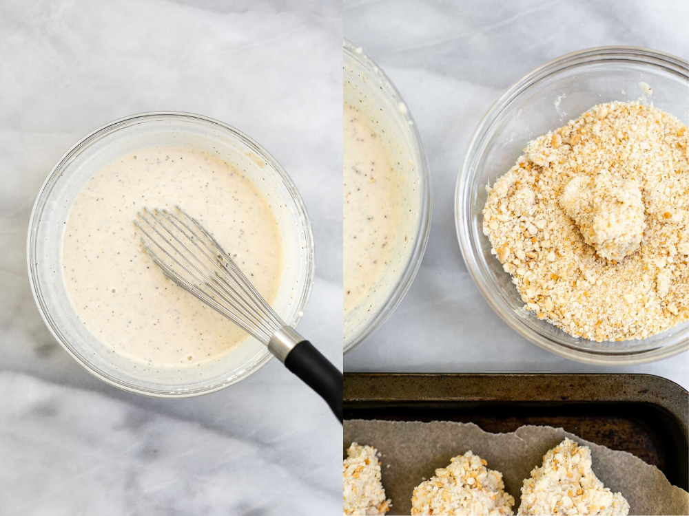 Batter for the cauliflower and breadcrumbs in a bowl.