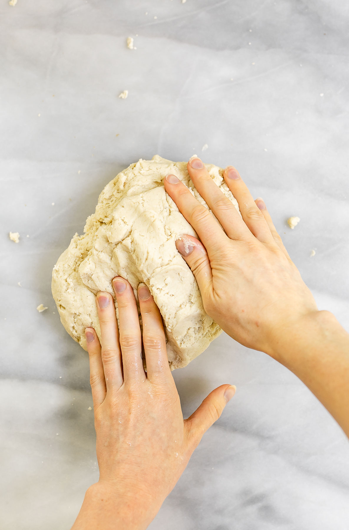 Kneading the dough.