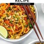 vegan pad thai in a bowl