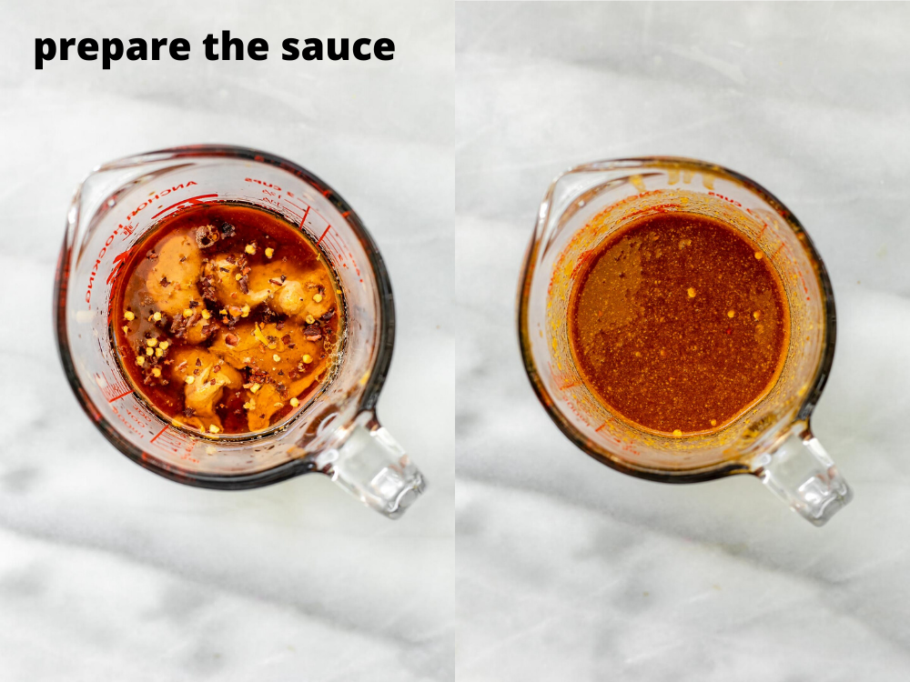 Pad thai sauce in a measuring cup.