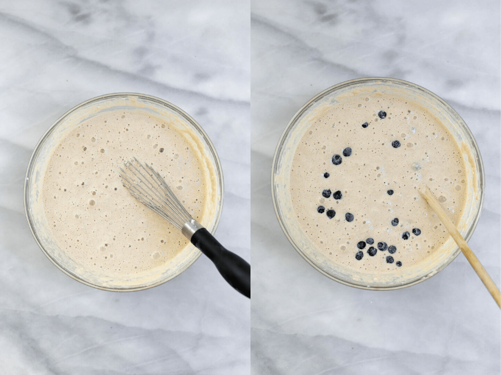 Two images showing the process of making the batter.