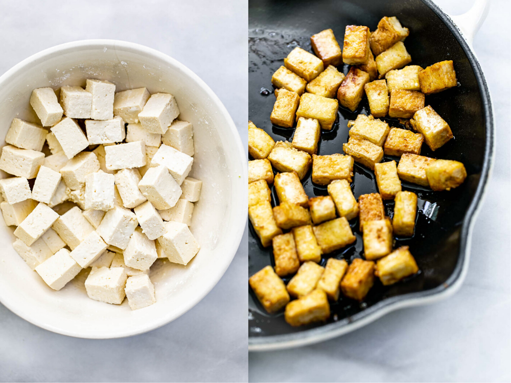 Two photos showing how to stir fry the tofu.