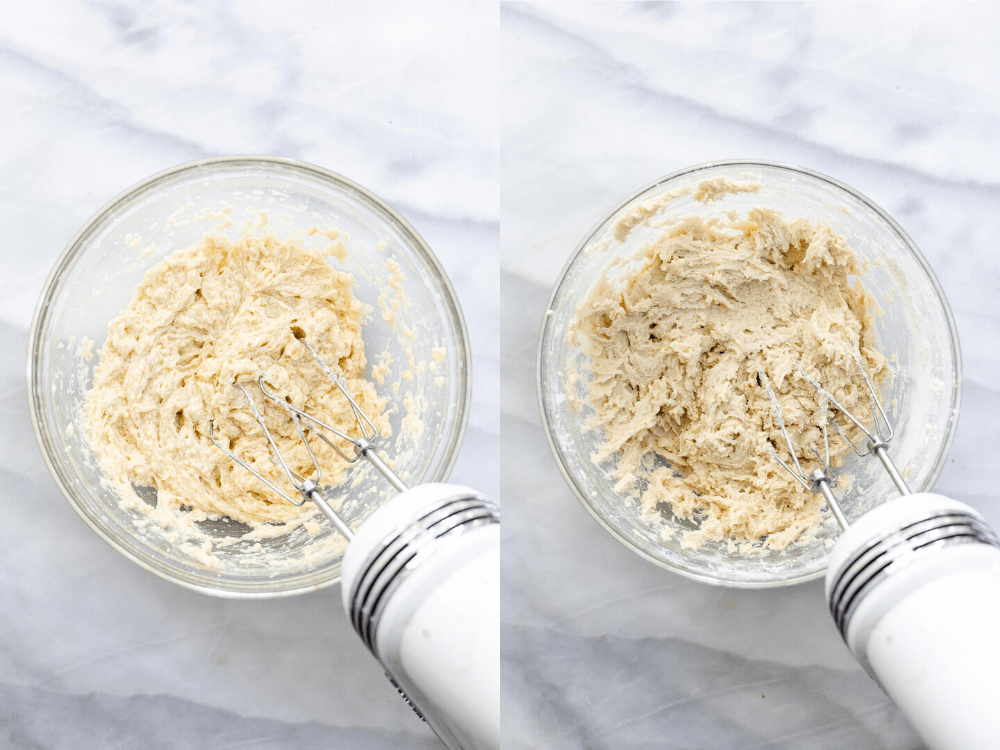 Two images showing how to make the cookie dough.