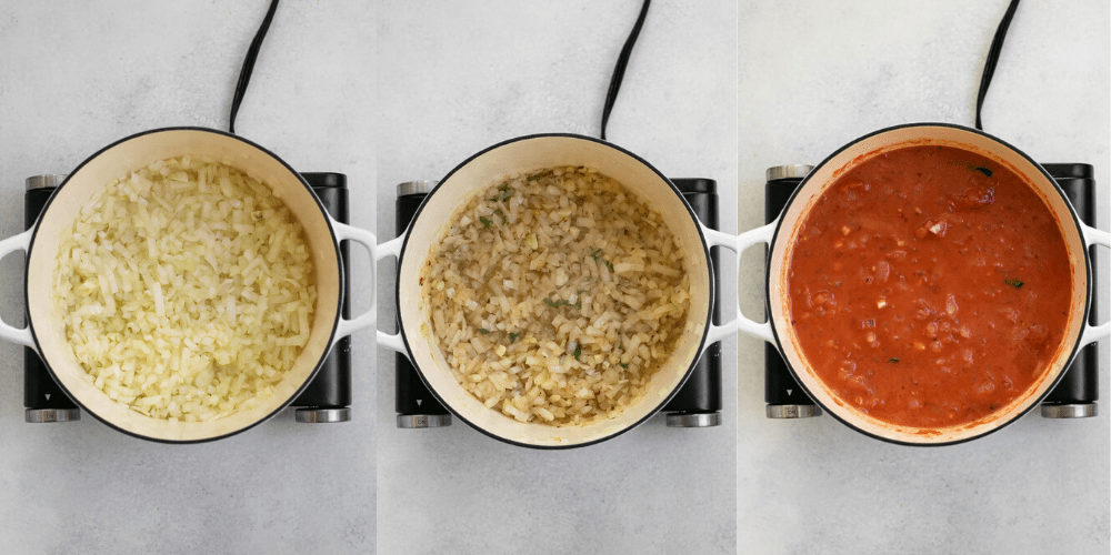 Three images showing the process of making the recipe.