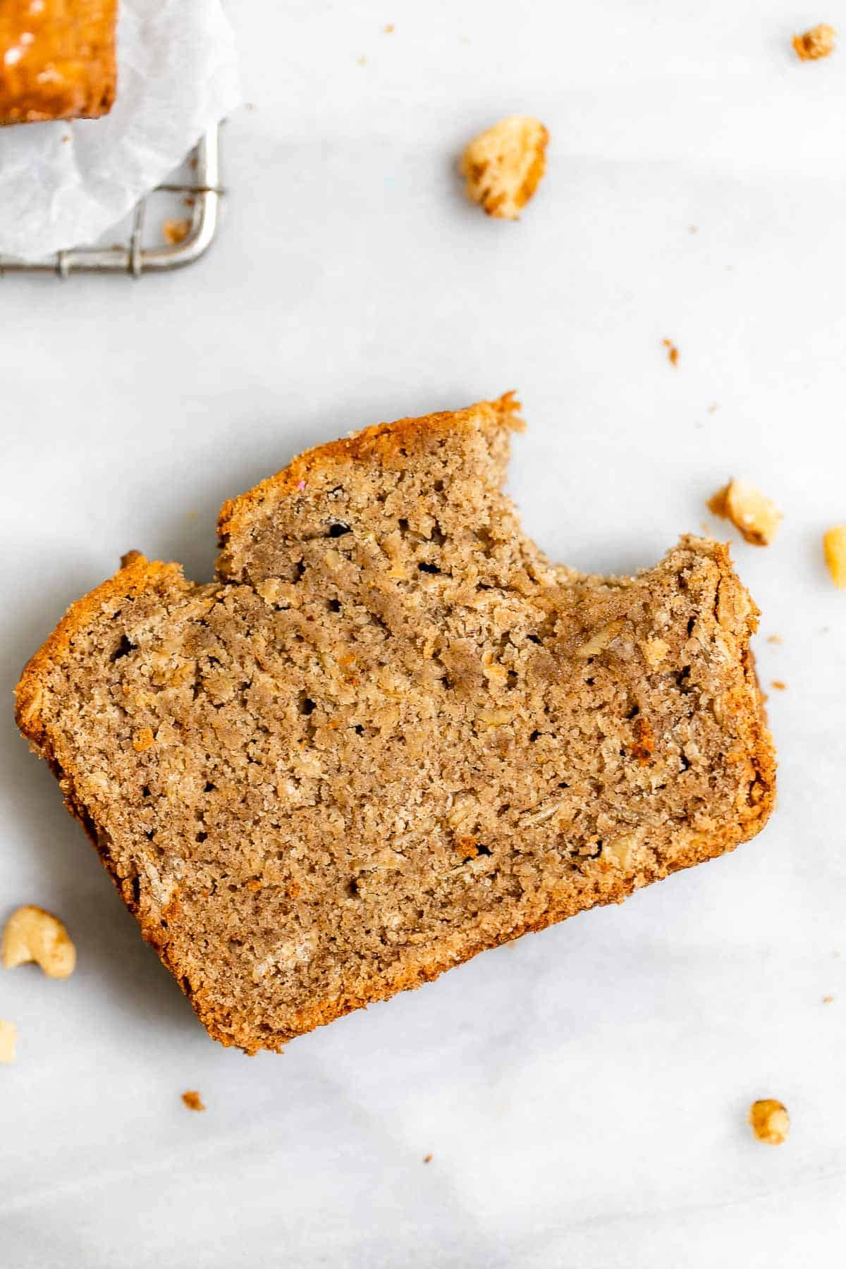 Up close image of the final vegan banana bread to show texture.