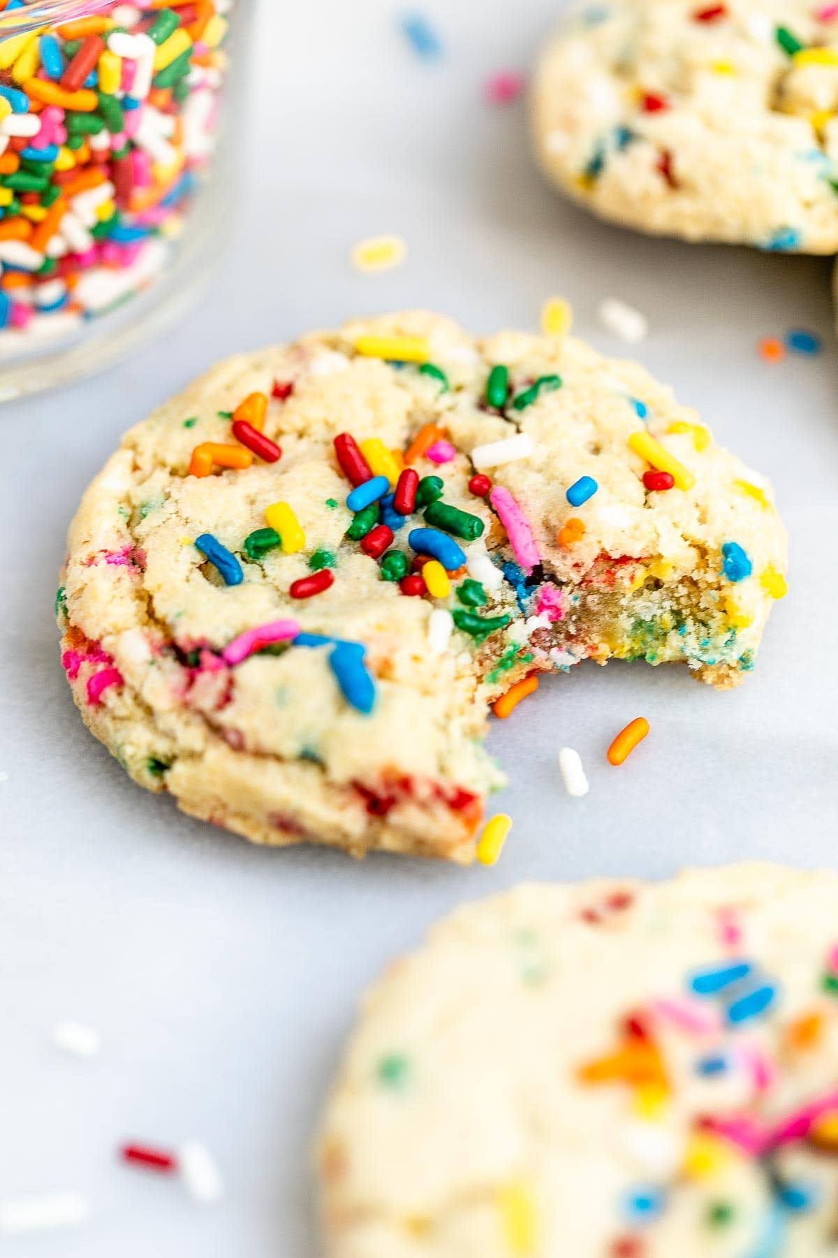 Up close image of a funfetti cookie to show the texture.