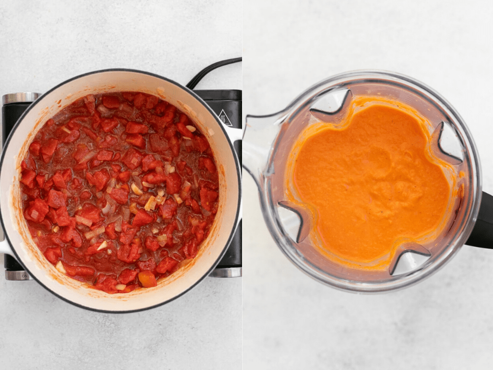 Two images side by side showing how to make the sauce.