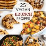 Collage showing vegan brunch recipes.