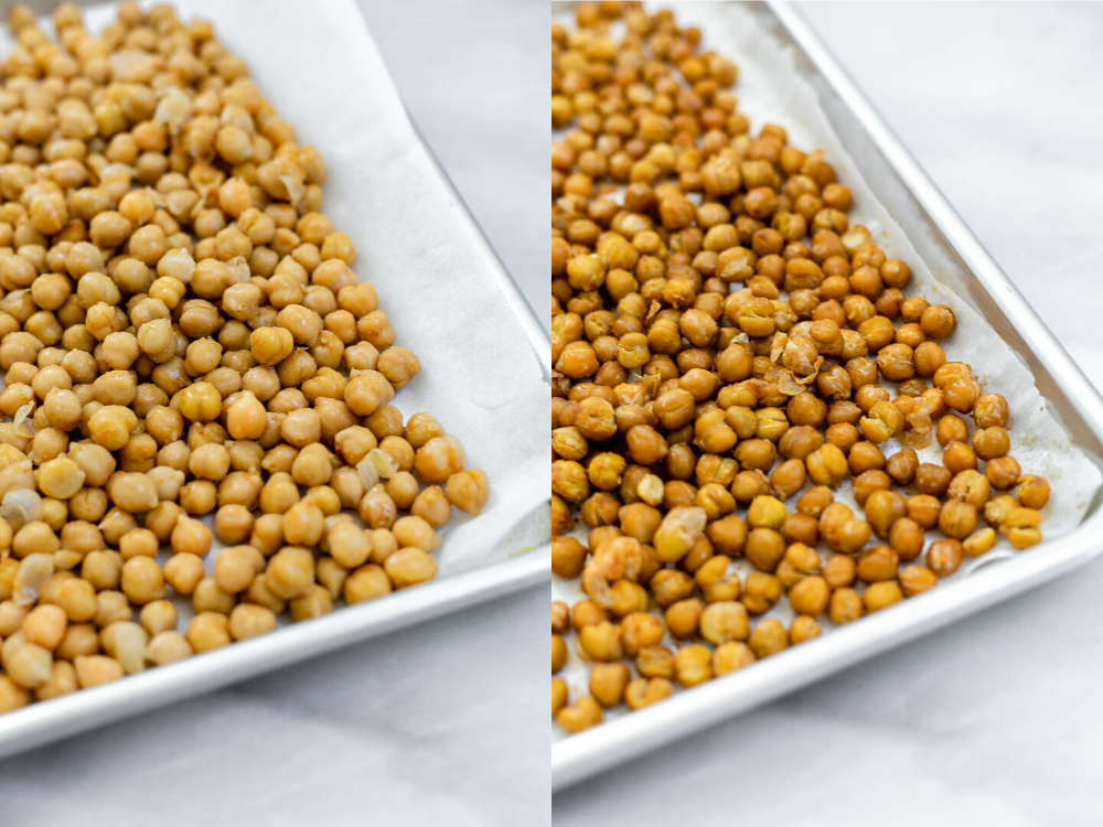 Two photos showing how to roast the chickpeas.