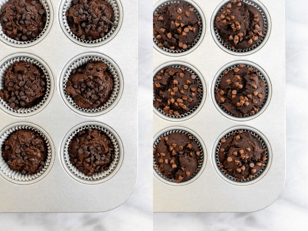 Before and after the chocolate banana muffins bake.