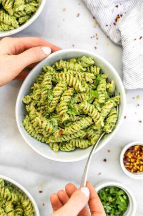 Nut Free Pesto Pasta (Vegan)