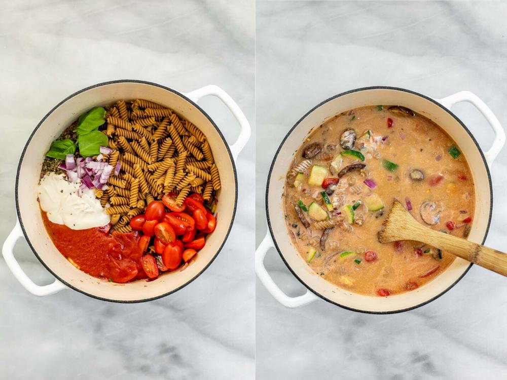 One pot pasta cooking process.