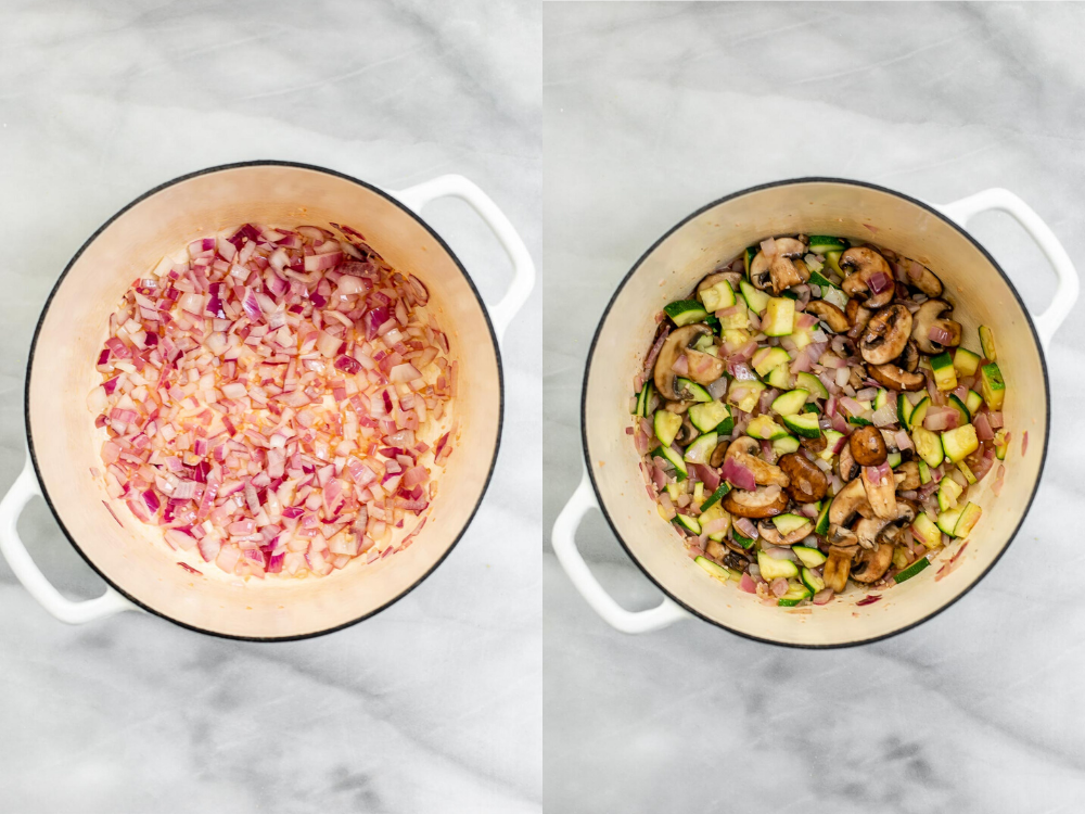 Two photos of the process of sauting the vegetables.
