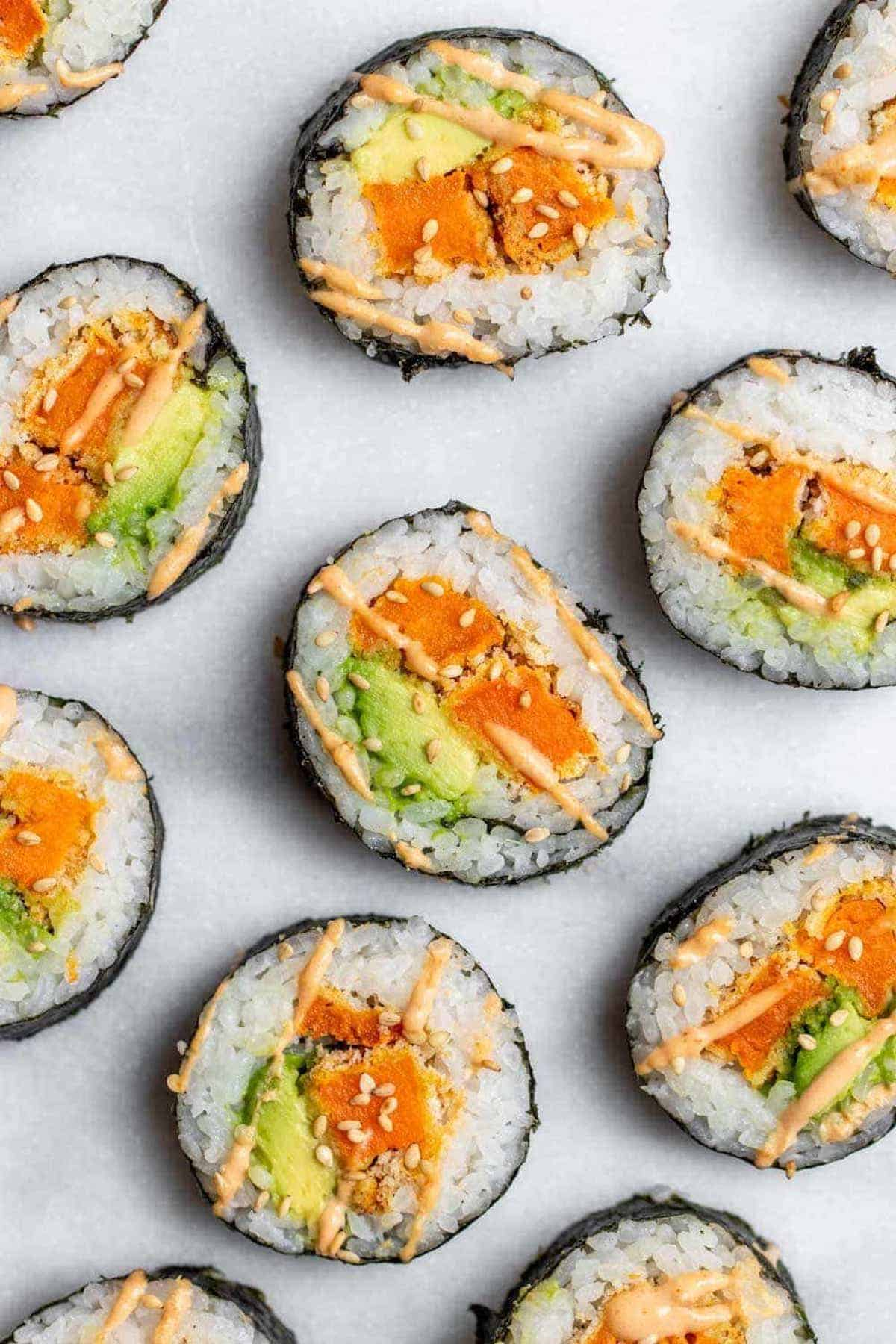 Overhead shot of vegetarian sushi recipe with sweet potato and avocado.