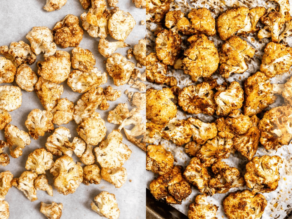 Showing how to roast the cauliflower.