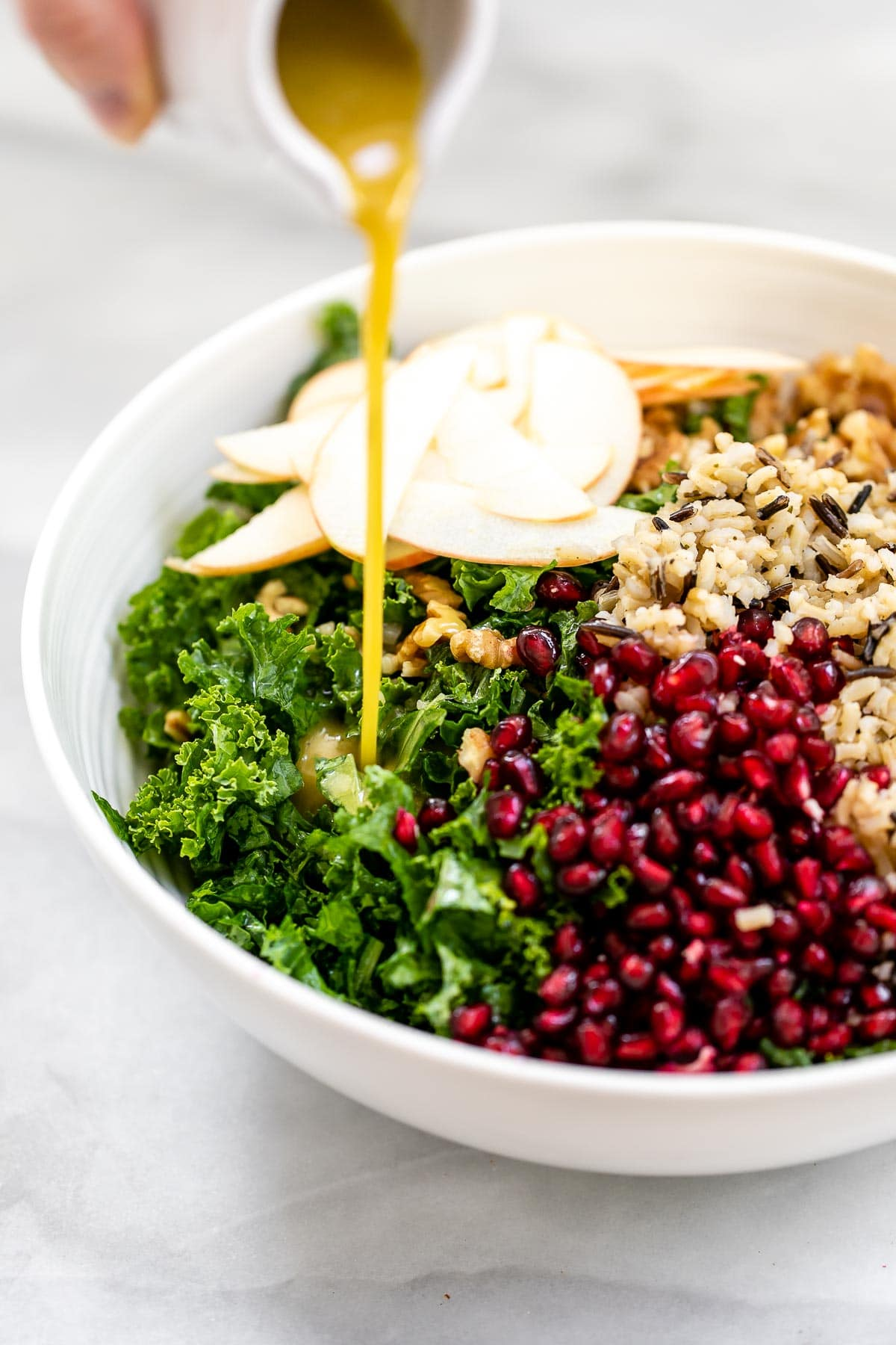 Kale salad with pomegranate and wild rice.
