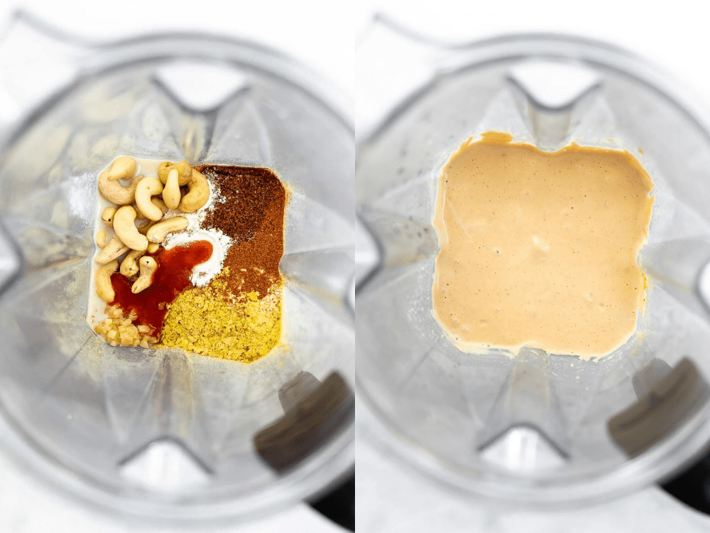 Two images showing how to blend and make the recipe.
