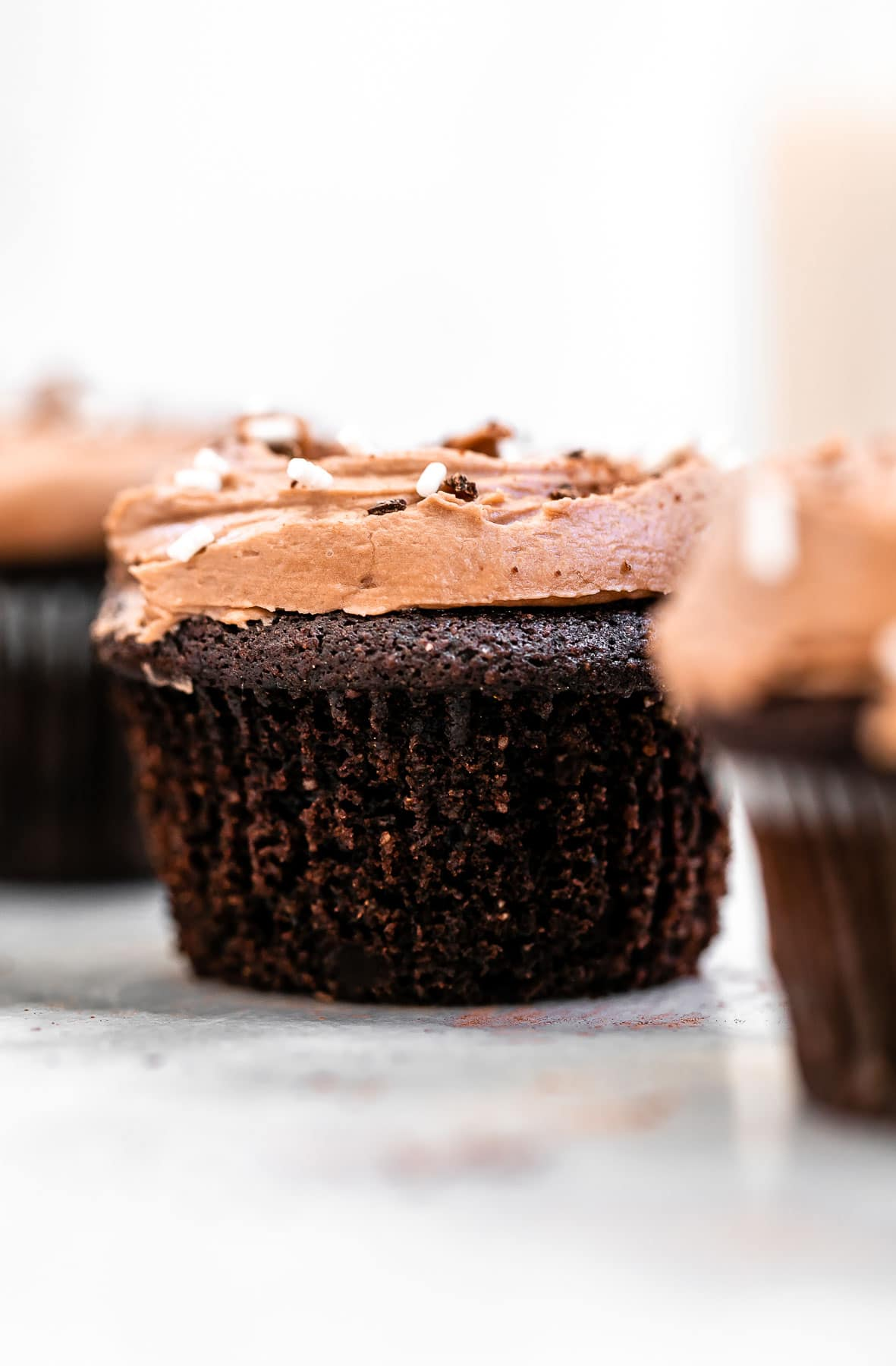 Vegan chocolate cupcake without a wrapper.