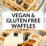 two images of vegan waffles pins
