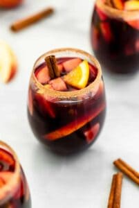 vegan fall spiced sangria in a glass.
