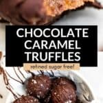 chocolate caramel truffles with bite taken out