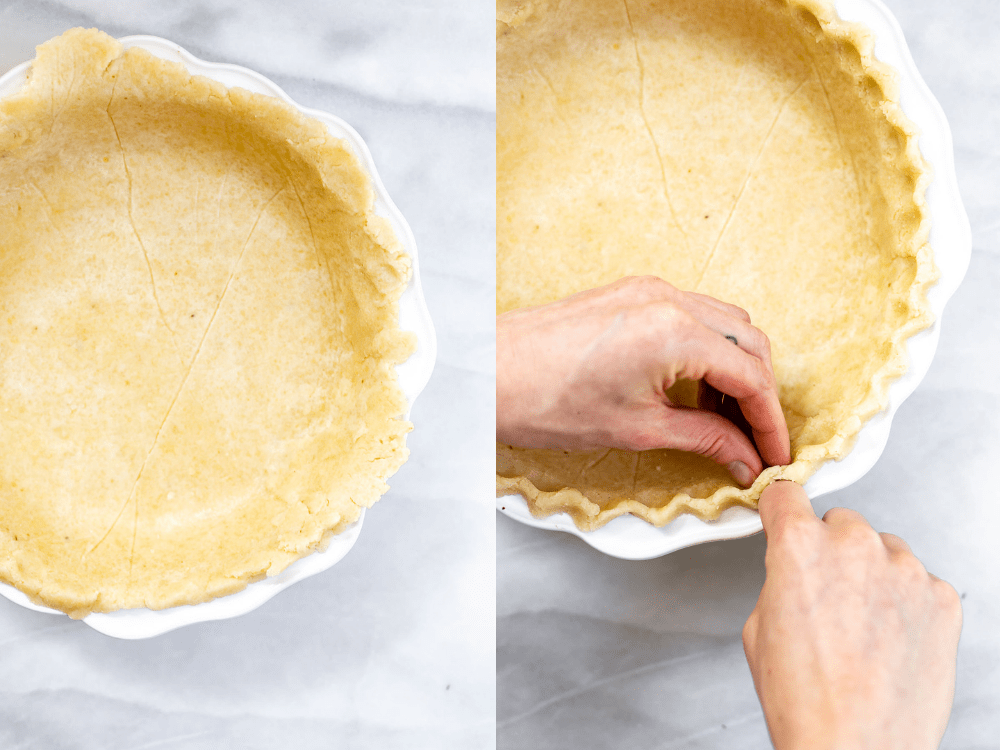 Crimping the edges of the pie crust.