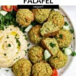 falafel on a plate with hummus