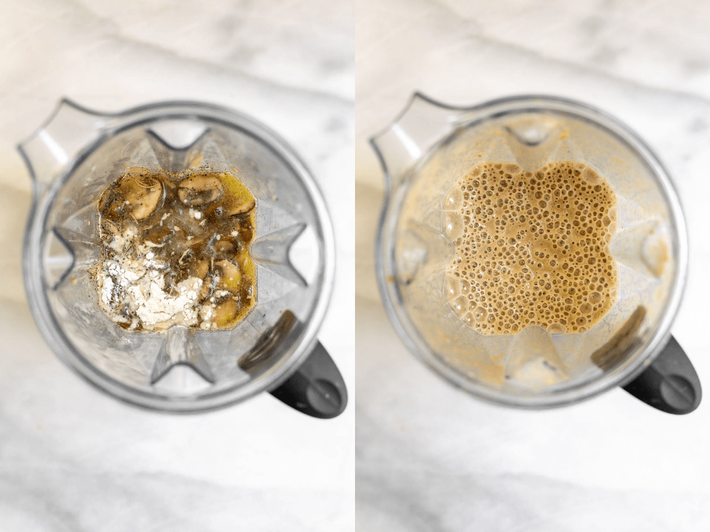 Before and after blending the gravy.